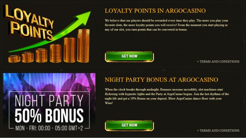 Argo Casino Deposit Bonuses